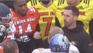 Kyle Shanahanwas addressing members of hisSenior Bowlteam during the NFL Network's broadcast of the event. Unfortunately for the network, they picked up...