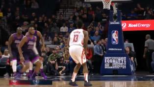 James Hardentiene otro día en la oficina llevando adelante el ataque deHouston Rocketsen el duelo de este miércoles contraMinnesota Timberwolves. El...