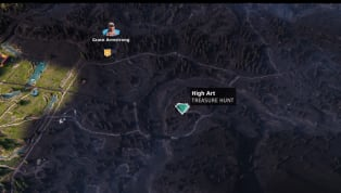 Far Cry New Dawn High Art treasure is fairly easy to find. It's east of the Chop Shop outpost. It's located in a barn covered in pink graffiti. Kinda hard to...