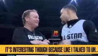 Did Steph Curry know he was mic'd up here talking to Coach Bud? If so, thank you. If NOT, SUPER thank you. Curry took over this All-Star practice this...