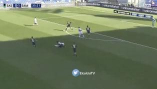 QUAGLIARELLA: Fabio Quagliarella with a beautiful curl from outside the 18 yard box to give Sampdoria a 2 nil lead at Mapei Stadium!! #tlnsoccer...