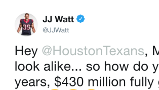 J.J. Watt's got jokes. The five-time All-Pro defensive end had a question for the Houston Texans after news broke that Los Angeles Angels outfielderMike...