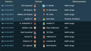 Llega el fin de semana con una nueva jornada de LaLiga Santander, la número 32, que se disputará entre el sábado y el lunes. Sábado 13 de abril El primer...