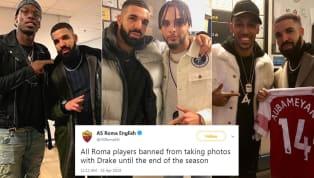 Trên trang chủ Twitter, AS Roma khiến các CĐV một phen cười vỡ bụng vì ban hành lệnh cấm rapper Drake đến sân vào cuối mùa giải. Gotta play it safe with that...