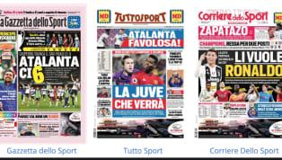 """""""Atalanta ci 6"""".C'è il successo al San Paolo dell'Atalanta tra i titoli principali de La Gazzetta dello Sport in edicola oggi. Nel taglio basso spazio ad una..."""