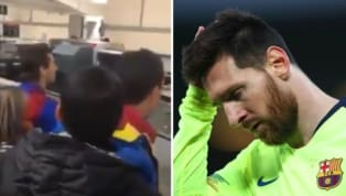 ​A group of pretty devastated ​FC Barcelona fans hurled questions at Lionel Messi when the Argentinean reached ​Liverpool's John Lennon airport to take the...