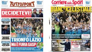 """""""Volo Lazio, furia Gasp"""", """"Biancocelestiale"""", """"Trionfo Lazio, ma è furia Gasp"""".Il titolo principale dei tre quotidiani sportivi nazionali è dedicato alla..."""