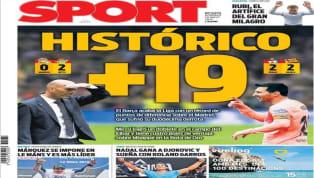 El diario Marca dedica su portada a la derrota del Real Madrid por 0-2 ante el Betis de Setién, que se marcha del club tras ganar en el Bernabéu y en el Camp...