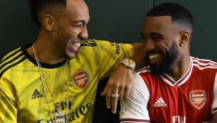 line ​Images have surfaced online seemingly confirming the new Arsenal home and away kits after forward duo Pierre-Emerick Aubameyang and Alexandre Lacazette...