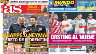 El diario As recoge en su portada el reto de Florentino Pérez en el mercado de fichajes. El presidente del Real Madrid deberá elegir si se lanza a por Neymar...