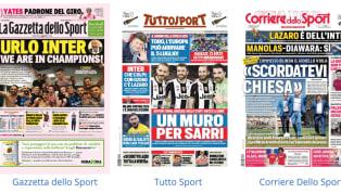 """""""I botti di Conte"""". La prima pagina de La Gazzetta dello Sport in edicola oggi apre con le strategie del mercato dell'Inter,che nelle ultimi ore ha chiuso..."""