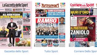 """TantaJuventusnelle prime pagine dei principali quotidiani sportivi nazionali oggi in edicola. La Gazzetta dello Sport introduce """"la missione"""" dei nuovi..."""