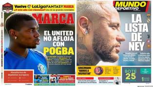 """SuperDeporte divide su portada en dos. En primer lugar, titula """"Presión al City"""" en alusión al interés del central Otamendi en volver al club valenciano y el..."""