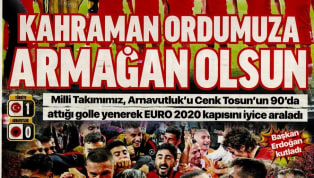 A Milli Takımımız'ın Arnavutluk karşısında elde ettiği 1-0'lık galibiyet gazetelerde ağırlıklı olarak yer buldu. Kulüplerimizden de haberlerin yer aldığı...