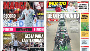 El atleta de Kenia ocupa parte de las principales portadas de medios escritos en España por su histórica gesta en maratón, dejando un tiempo no homologado de...