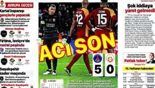Galatasaray'ın Paris Saint-Germain deplasmanındaki 5-0'lık yenilgisi gazetelerde ağırlıklı olarak yer buldu. UEFA Avrupa Ligi'ndeki temsilcilerimizin...