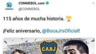 Conmebol saludó a Boca por su 115° aniversario este sábado 4 de enero. El asunto es que el 'Xeneize' no cumple años el 4 de enero, sino que celebra su...