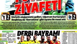 Beşiktaş'ın Trabzonspor ile 2-2 berabere kaldığı karşılaşmanın ayrıntıları gazetelerde ağırlıklı olarak yer buldu. Fenerbahçe-Galatasaray derbisi öncesindeki...