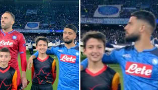 ​​SSC Napoli hitman Lorenzo Insigne was hilariously made to do with the tallest mascot in order to walk out on to the ground ahead of his...