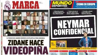 El diario madrileño pone en portada la videoconferencia de Zidane con la plantilla del Real Madrid , quienes se vieron las caras por primera vez en 3 semanas...