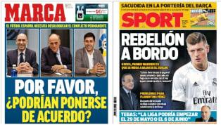 La falta de entendimiento entre los diferentes órganos del fútbol español de cara a cómo enfocar lo que resta de curso, unido a las primeras negativas en el...