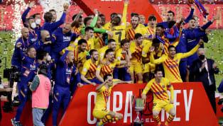 Barcelona berhasil meraih kemenangan dengan skor 4-0 atas Athletic Bilbao dalam pertandingan final Copa Del Rey 2021 di Estadio de la Cartuja, Minggu (18/4)...