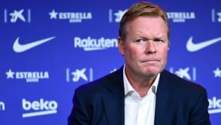 El técnico del FC Barcelona, Ronald Koeman, comparece en rueda de prensa para analizar el partido de Liga que enfrentará al conjunto azulgrana con el Betis...