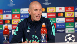 Zinedine Zidane comparece en la rueda de prensa previa al partido de Champions League entre el Borussia Mönchengladbach y el Real Madrid, que se disputará...