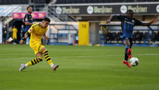 Him Borussia Dortmund scored six times in an entertaining second-half, including a superb hat-trick from Jadon Sancho, to defeat bottom side SC Paderborn 6-1....