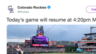 Pray for whatever intern is managing the Colorado Rockies social media accounts right now. The Rockies' matchup against the San Diego Padres has been paused...