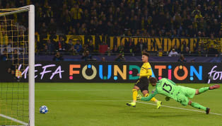 Borussia Dortmund's Jadon Sancho became the second-youngest English player to score in the UEFA Champions League when he came off the bench to hit the fourth...