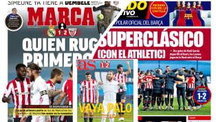 """1. Marca: """"Quien ruge primero..."""" La derrota del Real Madrid en las semifinales de la Supercopa de España ocupa la portada del Marca. La pobre primera parte..."""