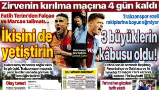Spor Toto Süper Lig'in 30. hafta maçları öncesindeki gelişmeler gazetelerde ağırlıklı olarak yer bulmuş durumda. Çarşamba gününün öne çıkan haber başlıkları...