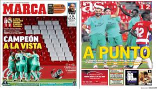 """1. Marca: """"Campeón a la vista"""" El diario Marca abre su tirada de hoy con la victoria del Real Madrid ante el Granada. Los de Zidane sumaron de 3 en la visita..."""