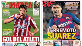 """La 'Danza de los 9' protagoniza las portadas de todos los diarios deportivos. 1. Marca: """"Gol del Atleti"""" La notica del posible fichaje de Luis Suárez por el..."""