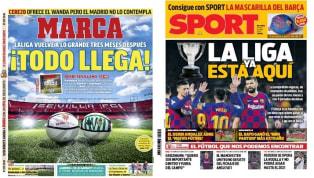 """Hoy vuelve LaLiga y todos los medios deportivos están hablando de ello. El Derbi de Sevilla inaugurará la jornada 28. 1. Marca: """"¡Todo llega!"""" Marca La Liga..."""