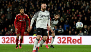 ​Wayne Rooney marked his 500th game in English league football with a coolly-taken Panenka-style penalty for ​Derby County in their 1-1 draw...