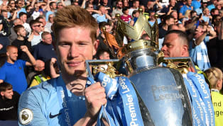 Kevin de Bruyne joked that his manager Pep Guardiola is a 'sh*t coach' because he only wins as captured on camera during Manchester City's on pitch title...