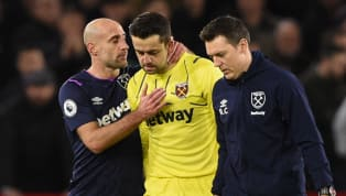 West Ham goalkeeper Lukasz Fabianskiwill be sidelined for just 'a couple of weeks' after suffering a fresh hip injury -a knock in a similar region to the...
