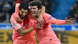 itle ​Barcelona edged ever closer to a 26th La Liga title, as Carles Aleña and Luis Suarez were on target in a 2-0 win away to Alaves on Tuesday night.  After...