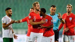 Segunda, 14 de outubro de 2019. A Seleção da Inglaterra adentra o gramado do EstádioVasil Levski, para confronto contra a Bulgária pelas Eliminatórias da...