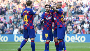 Lionel Messi netted four goals, including a first-half hat-trick, as Barcelona put pressure on Real Madrid atop La Liga with a 5-0 win over Eibar at the Camp...
