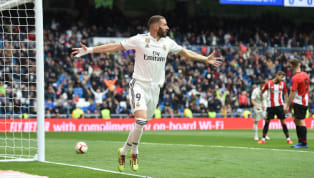 Two second-half headers and an injury time thirdfrom Karim Benzema handed Real Madrid a much needed 3-0 win over Athletic Bilbao that closed the gap from...