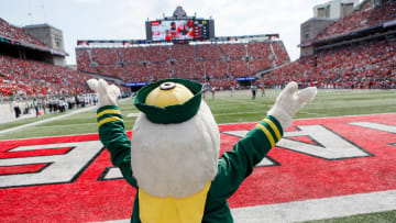 The Oregon Ducks mascot stand behind the endzone during 4Q of the Saturday's football game against the Ohio State Buckeyes at Ohio Stadium.
