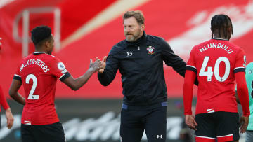 Southampton manager Ralph Hasenhuttl celebrates after an English Premier League match at St. Mary's Stadium on Oct. 25, 2020.