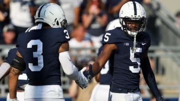 Penn State WR Jahan Dotson (5) is congratulated by Parker Washington (3) after scoring a touchdown at Beaver Stadium on Sept. 11, 2021.