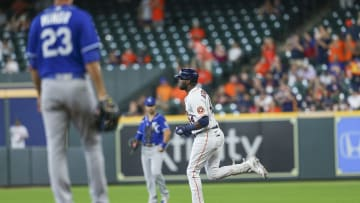 Houston's Yordan Alvarez (44) rounds the bases after hitting a home run against Kansas City in the fourth inning at Minute Maid Park on Aug. 25, 2021