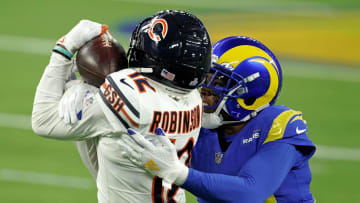 Oct 26, 2020; Chicago Bears WR Allen Robinson (12) hauls in a catch over Los Angeles Rams CB Jalen Ramsey (20) at Sofi Stadium in Inglewood, CA