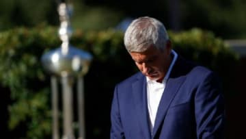 PGA Tour commissioner Jay Monahan leads a moment of silence to honor George Floyd during the first round of the Charles Schwab Challenge.