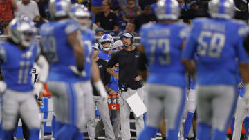 Lions head coach Dan Campbell looks on during the first quarter against the Bills at Ford Field on Aug 13, 2021.